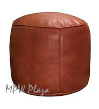 MPW Plaza Tabouret Pouf, Brown, Moroccan Leather Ottoman (Stuffed)