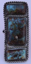Old vintage Big Native American Navajo Sterling Pilot Mountain Turquoise ring