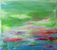 """Peinture sur toile Tableau abstrait Paysage original signé HZEN  """"ÉTENDUE-LÀ"""""""
