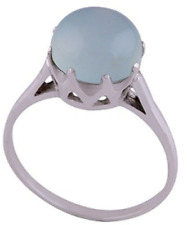 925 Sterling Silver 3 grams Chalcedony Aqua Cabochon Round Solitaire Ring Size 9