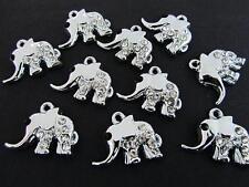 10 Baby Elephant Silver Plated Glass Crystal Rhinestone Charm/Pendant/Bead K147