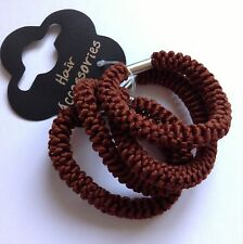 A 4 Pack Of Brown Rope Style Ponytail Band/Hair Bobbles