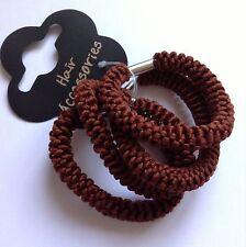 Una confezione 4 di Marrone Corda stile coda di cavallo banda / Capelli Bobbles