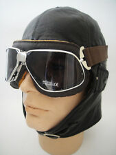 NEW Aviator LEATHER Convertible Car Motorcycle Racing HELMET CAP Aviation VTG #2