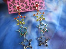 Stars Dangle Earrings A#4 Betsey Johnson Adorable Dainty Colorful