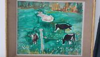 """""""Les vaches Normandes""""  peinture signée HINKIS Alexandre, 1913-1997 (France)"""
