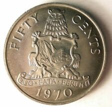 1970 BERMUDA 50 CENTS - AU - Excellent Large Coin - FREE SHIP - BIN #MMM
