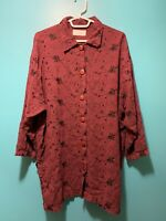 VTG J.Jill Oversized Button Down Tunic Shirt Embroidered Made In USA Sz S