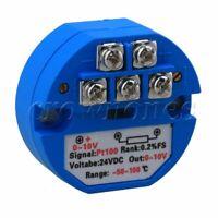 PT100 Temperature Sensor Transmitter -50~+100 Celsius Output 0-10V DC 24V