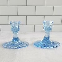 Vintage Indiana Glass BLUE Diamond Point Candle Holder Candlestick Set of 2