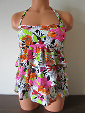 Macy's Island Escape Tiered Bandini Tankini Top Swimsuit White Floral Size 8 NWD