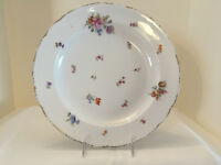 "Antique German Porcelain Plate, Gold Trim, 12"", Crown & Shield Mark"