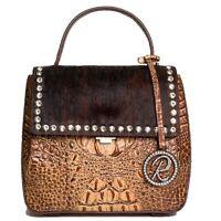 Raviani Mini Shoulder Bag W/ Brown Embossed Croco & Hair On Leather W/ Crystals