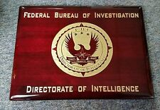 "FBI Directorate of Intelligence Piano Rosewood Signage Plaque w Gold 9""X12"""