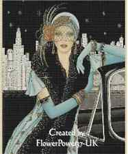 Counted Cross Stitch ART DECO LADY in Blue w/Car - COMPLETE KIT - No.1-43a