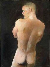 Painting NUDE male ANTHONY'S BACK 1/23/50 rear Esteban Realism Signed FREE SHIP