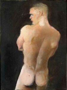 ANTHONY'S BACK Painting nude male 1/27/50 rear Esteban Realism Signed FREE SHIP