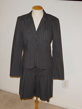 CABI SET PINSTRIPED SUIT NOB HILL BLAZER JACKET & TROUSER LONG PLEATED SHORTS 8
