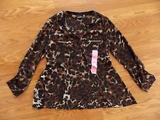 NWT Womens RAFAELLA Brown Leopard Print Tunic Roll Sleeve Blouse Sz Small $65