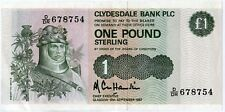 CLYDESDALE  Bank One  Pound £1 Scottish Banknote  18th September 1987