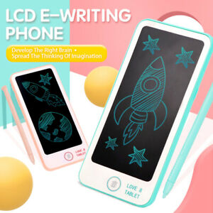 """5.5"""" inch Childrens Writing Phone LCD Electronic Drawing Pen Pink Toy Kids"""