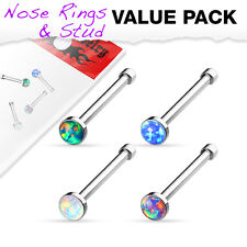 4 Pc Pack Simulated Opal Surgical Steel Nose Bone Stud Ring Piercing 20g