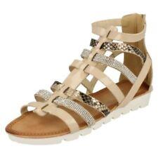 Scarpe da donna gladiatori beige casual