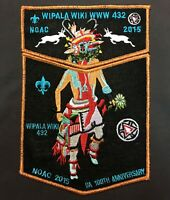 WIPALA WIKI LODGE 432 BSA NOAC 2015 OA 100th CENTENNIAL MYLAR 2-PATCH CONTINGENT