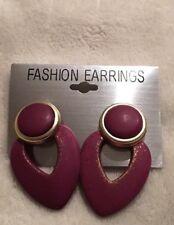 Clip On Earrings Deep Purple Drop