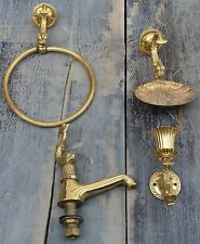 Ancienne splendide parure 4 pièces laiton / bronze petite salle d'eau ou autres