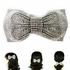 Big Large Silver Rhinestone Crystal Bow Knot Barrette Hair Clip Pin Jewelry Gift
