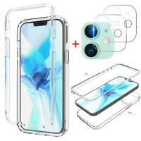 For iPhone 12 Mini, 12/11 Pro Max Clear Hard Case Cover + Camera Lens Protector