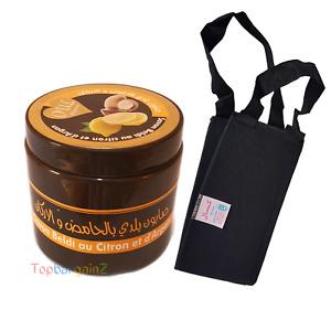 Organic Argan Oil Lemon Moroccan Black Soap Exfoliation Hammam Back Strap Kessa