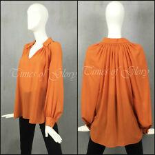 NEW Hermes Ladies Orange WOOL CHIFFON Oversize Blouse Top Shirt Jacket Size FR36