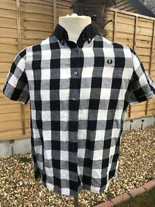 """Fred Perry Amy Winehouse Black/White Check Shirt, 44"""" Chest Lady's Size 16 VCG"""
