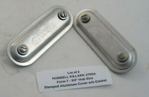 """(2) HUBBELL KILLARK 270SA 3/4"""" Size (Form 7) Stamped Aluminum Cover w/o Gasket"""