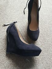 Peacocks Black Wedge Ankle Strap Shoes Size 5