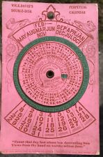 Late 1800s Antique Perpetual Calendar William K David's Double Disk Paper