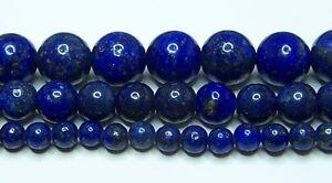 "Lapis Lazuli Beads 2mm-3mm-4mm-6mm-8mm-10mm-12mm Real Stone 15.5"" Strand"