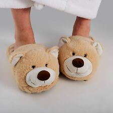 Zhu-Zhu Furry Animal Slippers - Soft Plush Novelty Slippers - Teddy Bear UK 3-7
