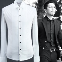 ByTheR Men's Solid White Cotton Blend Basic Button Front Slim Casual Shirts