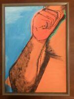 Andy Warhol Muhammad Ali olio su tela cm 50x70 cornice compresa Falso d' autore
