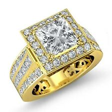 Halo Pre-Set Princess Diamond Engagement Ring Gia F Vs2 18k Yellow Gold 2.75ct