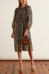 NEW Isabel Marant Etoile Vanille Dress Women Casual Party Floral Print Midi S 34