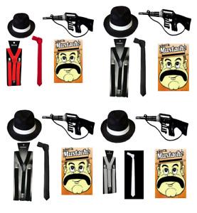 5PC MENS GANGSTER 1920's AL-CAPONE MAFIA GANGSTER GUN HAT TIE BRACES FANCY DRESS