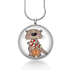 Christmas Otter Necklace - Candy Cane Pendant - Christmas Jewelry - Holiday