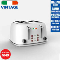 Vintage Electric 4 slice Toaster White Stainless Steel 1650W | Not Delonghi