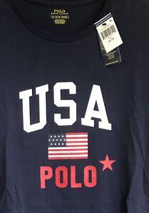 Ralph Lauren POLO USA American Flag T-shirt Tee Men's XL NWT Navy