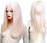 Human Hair Glueless Silk Top Remi Remy Full Lace Wig Blonde Long Silky Straight