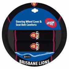 84688 BRISBANE LIONS AFL CAR STEERING WHEEL COVER & SEAT BELT COMFORTS PAD